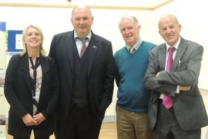 Ardcroney picture - Breda Conroy (Deputy Principal Ardcroney N.S.) with Damien Kennedy (Principal Nenagh College), Martin Ryan (Principal Ardcroney NS)  and Harry Freeman, Guest Speaker