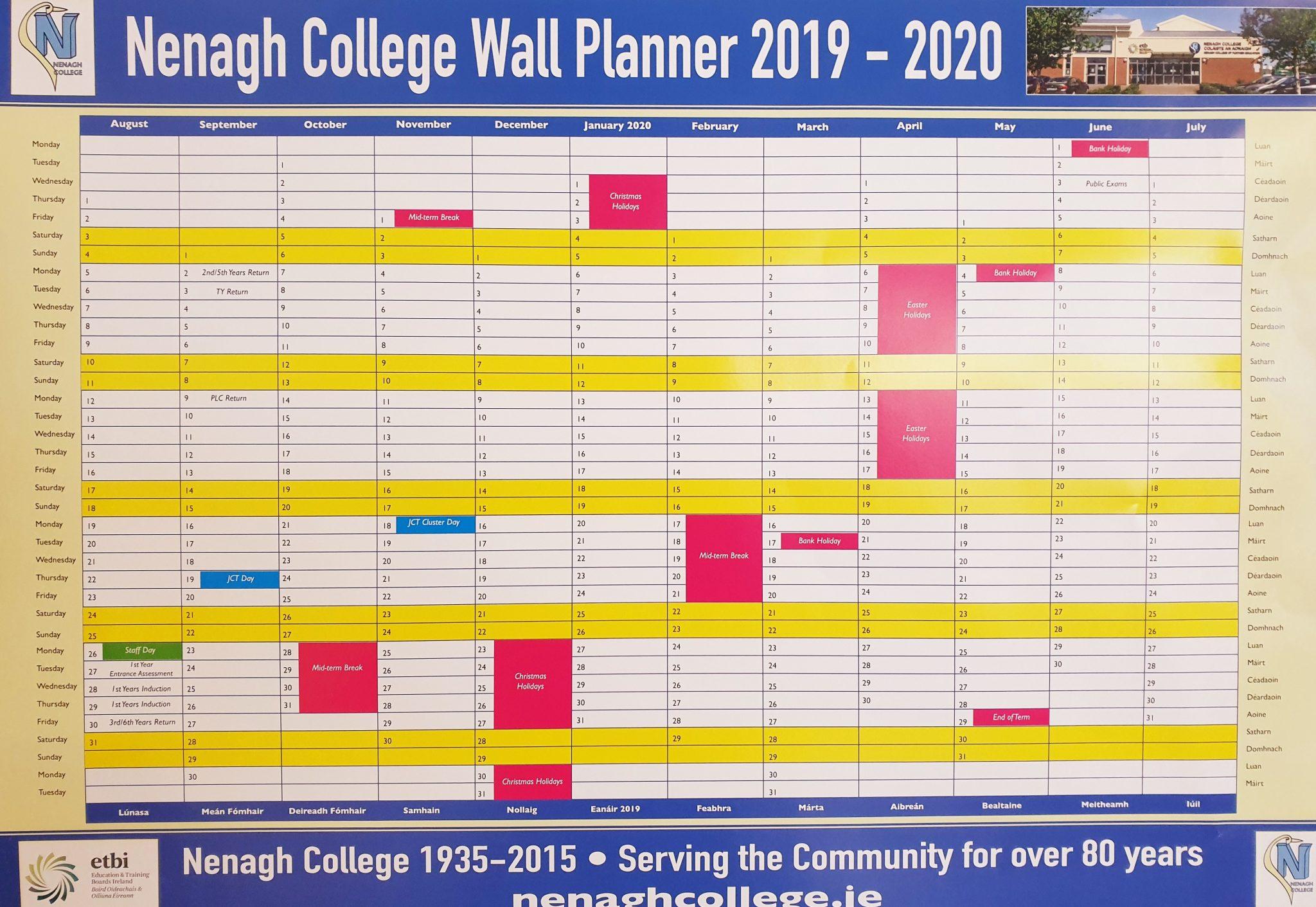 School Calendar – Nenagh College